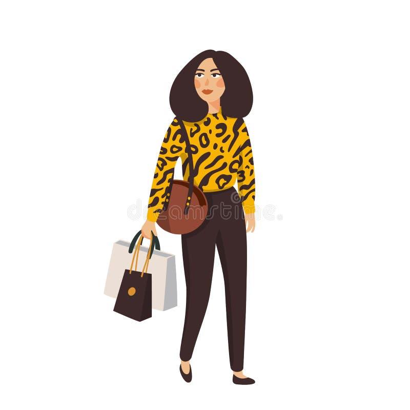 Belles jeunes femmes dans des vêtements de mode Personnages féminins détaillés avec des accessoires Illustration plate de vecteur illustration libre de droits