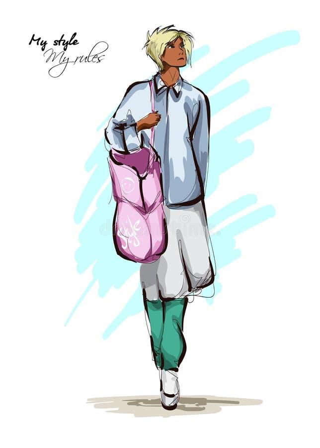 Belles jeunes femmes dans des vêtements de style de boho avec un sac rose Fille tir?e par la main de mode Pose de mod?le de mode  illustration libre de droits
