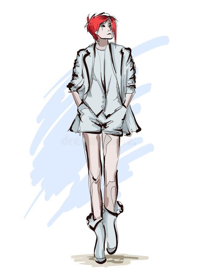 Belles jeunes femmes dans la veste légère et les shorts Fille tir?e par la main de mode Pose de mod?le de mode croquis illustration libre de droits