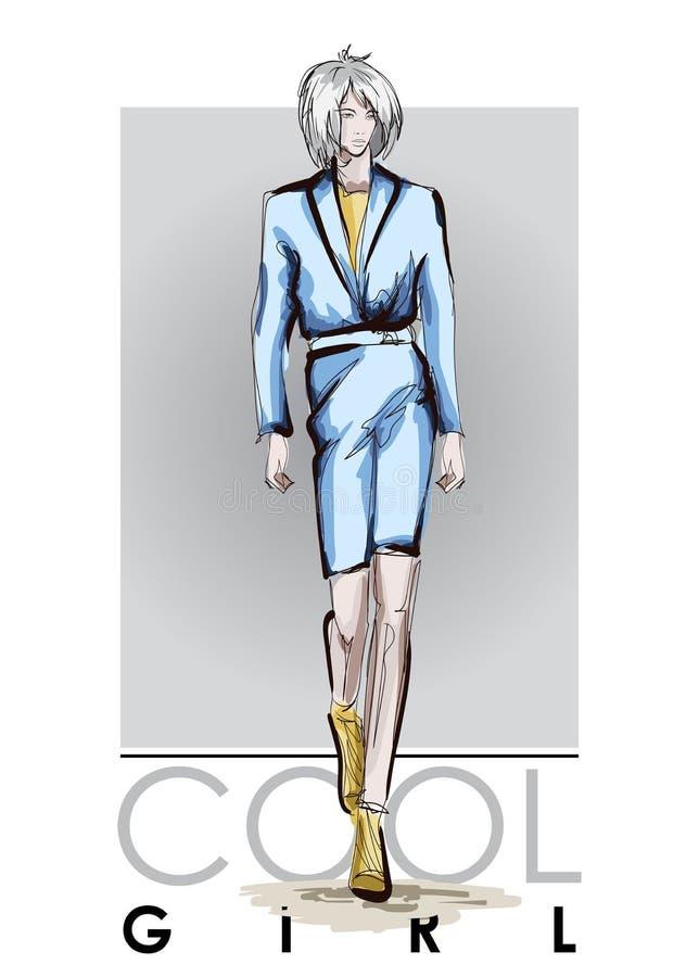 Belles jeunes femmes dans le costume bleu Fille tir?e par la main de mode Pose de mod?le de mode croquis illustration de vecteur