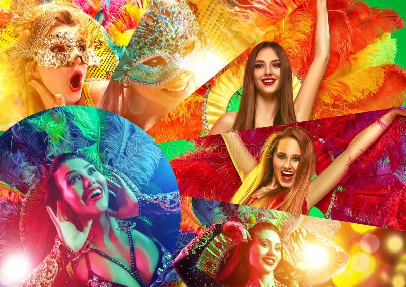 Belles jeunes femmes dans le masque de carnaval images libres de droits