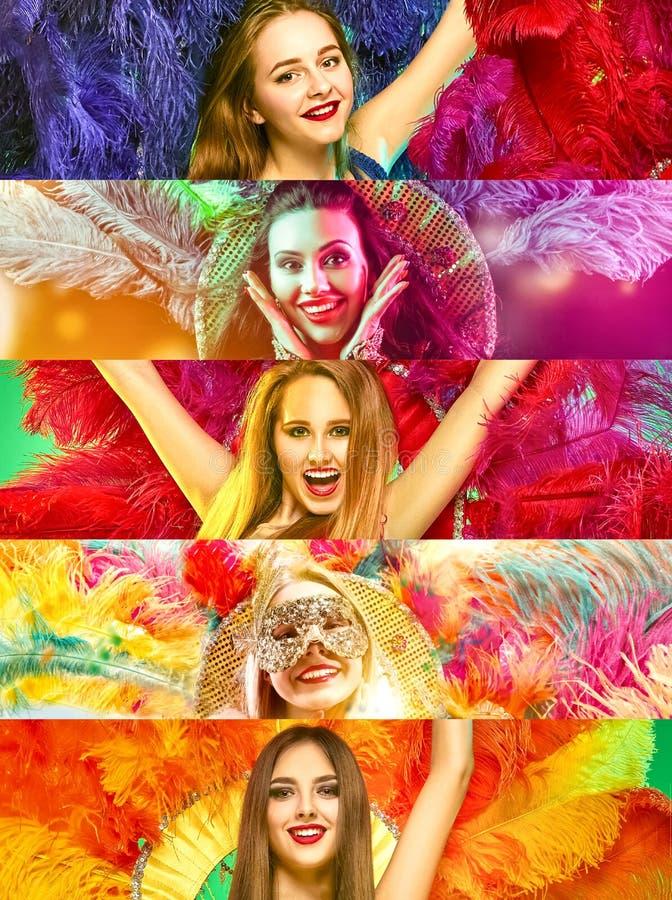 Belles jeunes femmes dans le masque de carnaval images stock