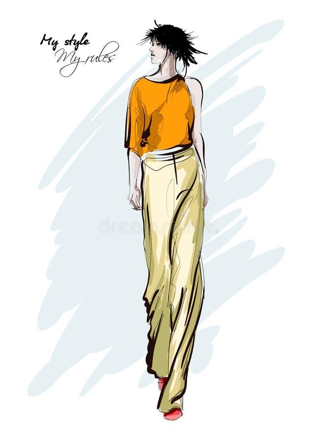 Belles jeunes femmes dans les pantalons et le chemisier Fille tir?e par la main de mode Pose de mod?le de mode Illustration de ve illustration libre de droits
