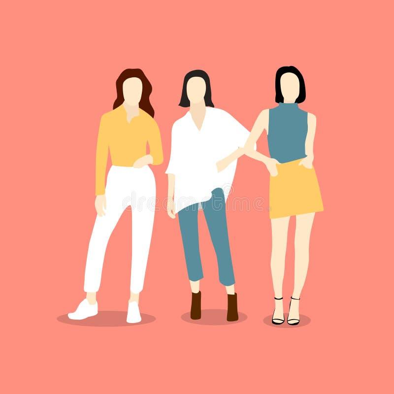 Belles jeunes femmes dans les v?tements de mode Femmes de mode Caractères femelles d'isolement de mode illustration de vecteur