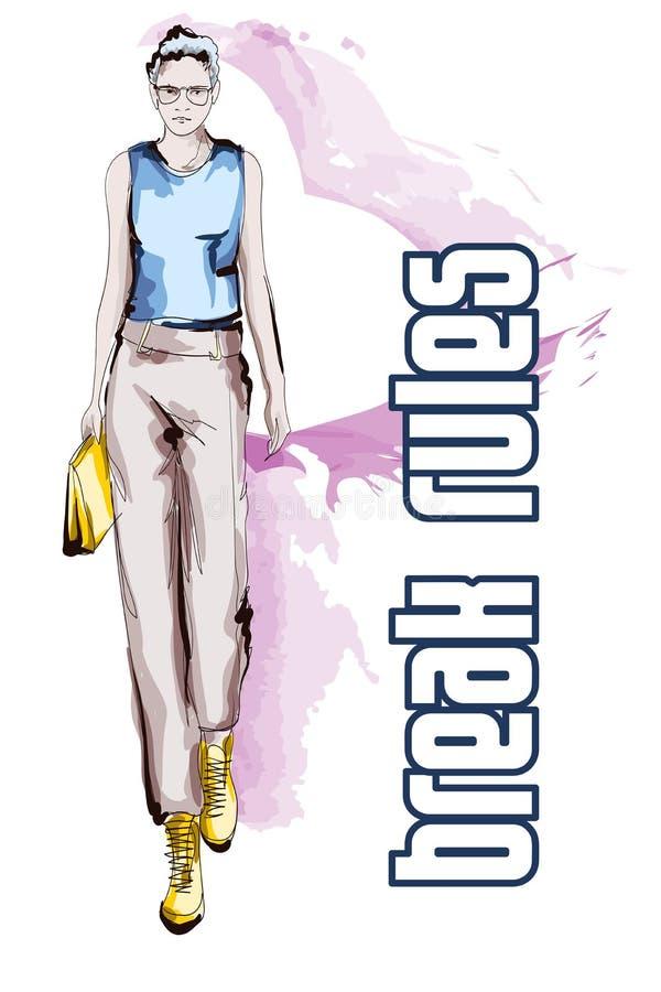 Belles jeunes femmes dans un chemisier bleu et des pantalons bruns Fille tir?e par la main de mode Pose de mod?le de mode croquis illustration de vecteur