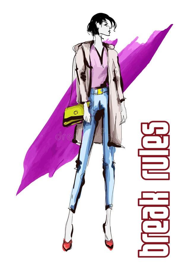 Belles jeunes femmes dans un chemisier rose et des pantalons bleus Fille tir?e par la main de mode Pose de mod?le de mode croquis illustration de vecteur