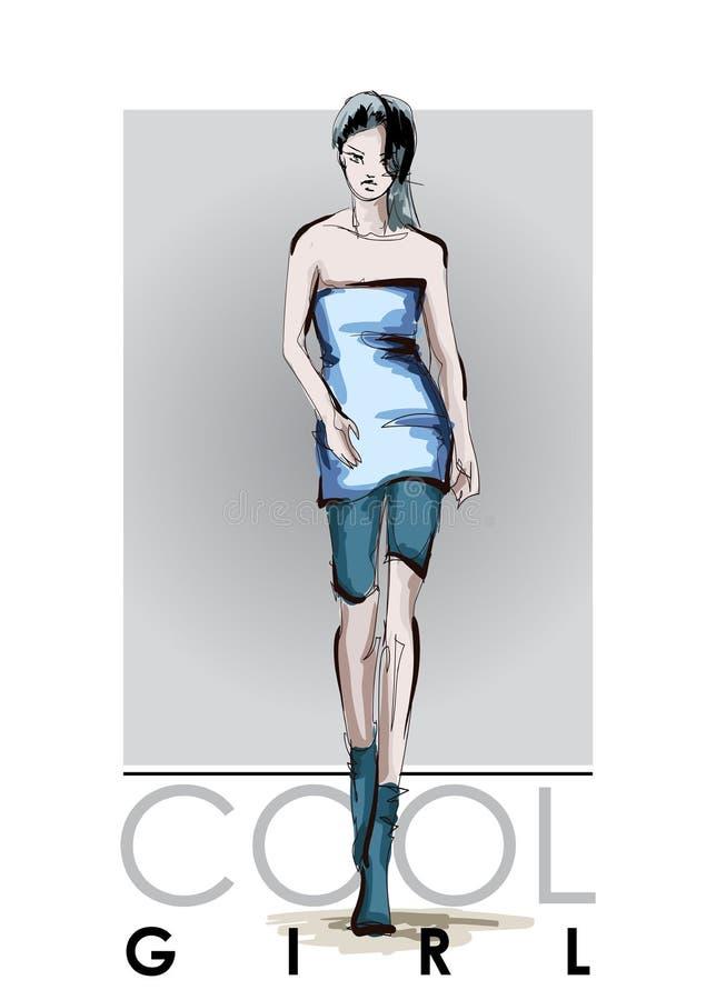 Belles jeunes femmes dans une robe bleue et des culasses bleues Fille tir?e par la main de mode Pose de mod?le de mode croquis illustration de vecteur