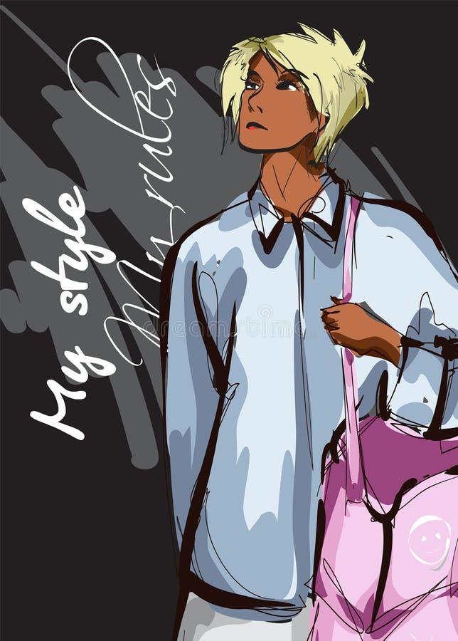Belles jeunes femmes de couleur d'Afro-américain dans la chemise bleue et le sac rose Fille tir?e par la main de mode Pose de mod illustration libre de droits