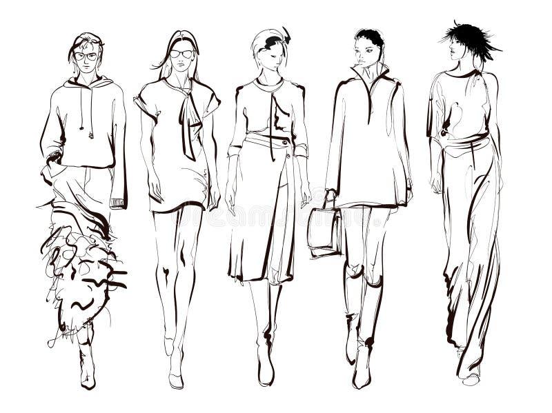 Belles jeunes femmes Filles tir?es par la main de mode Pose de mod?le de mode croquis Positionnement d'illustration illustration de vecteur