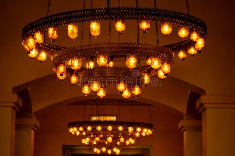 Belles lumières dans la réception d'hôtel, Egypte photo stock