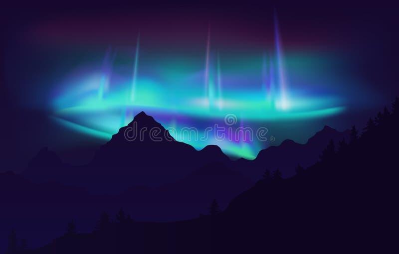 Belles lumières du nord d'Aurora Borealis en ciel nocturne au-dessus de montagne Illustration de vecteur illustration libre de droits