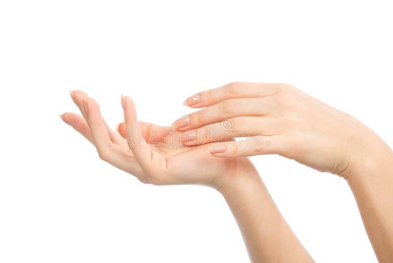Belles mains de femme avec des ongles de manucure française photographie stock libre de droits