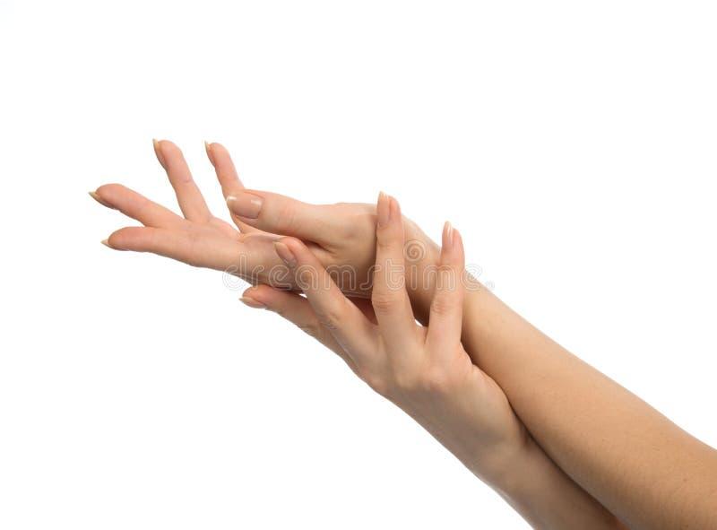Belles mains de femme avec des ongles de manucure française d'isolement photos libres de droits