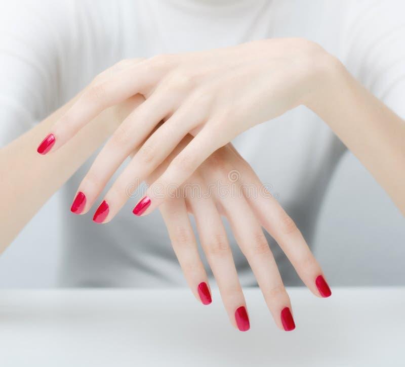 Belles mains pâles élégantes et longs doigts aimables images stock