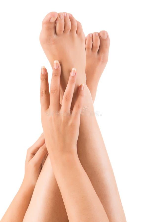 Belles mains sur des jambes image stock