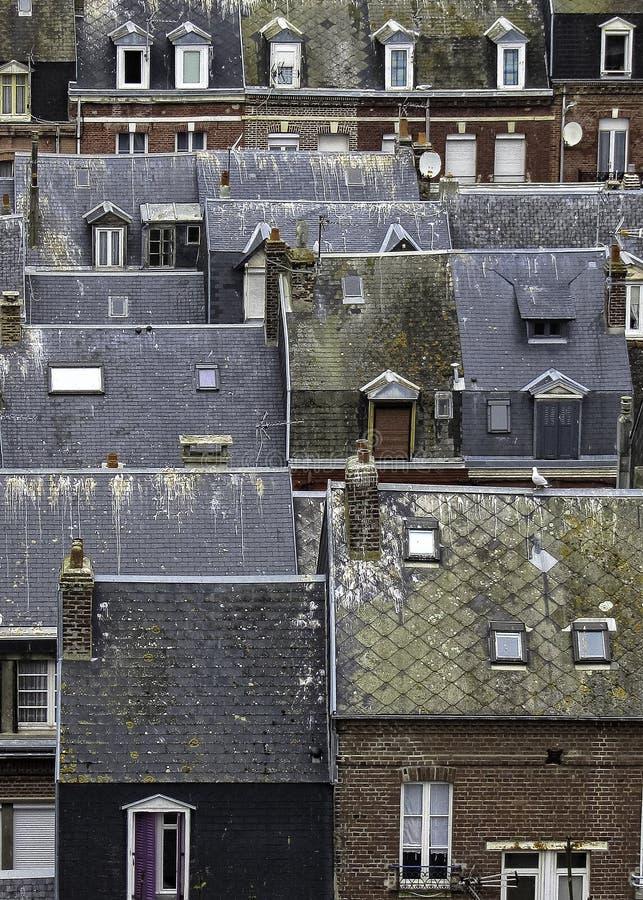 Belles maisons de ville de la Normandie de paterns français de papier peint photo libre de droits