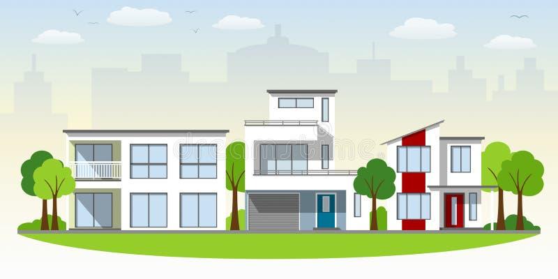 belles maisons modernes illustration de vecteur illustration du vieux 51957420. Black Bedroom Furniture Sets. Home Design Ideas