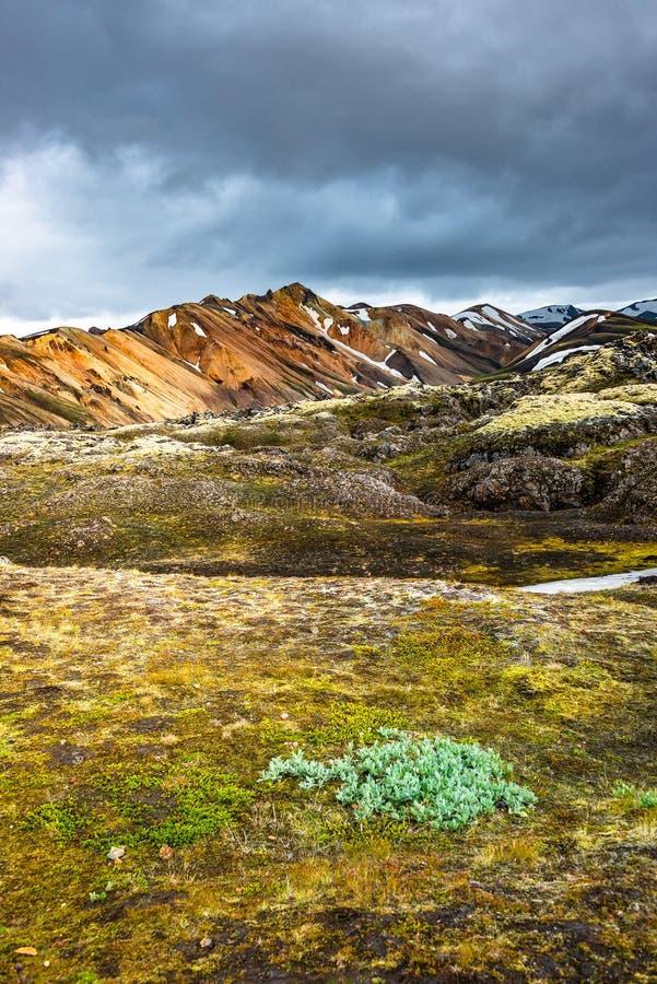 Belles montagnes volcaniques colorées Landmannalaugar en Islande, formation de la terre image stock