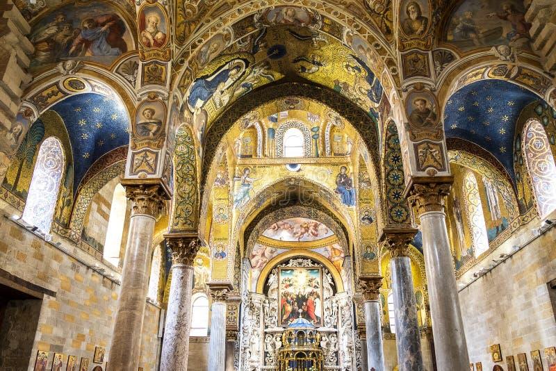 Belles mosaïques bizantines à Palerme, Italie photos stock