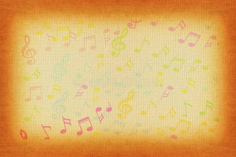 Belles notes colorées de musique au vieil arrière-plan de papier image stock