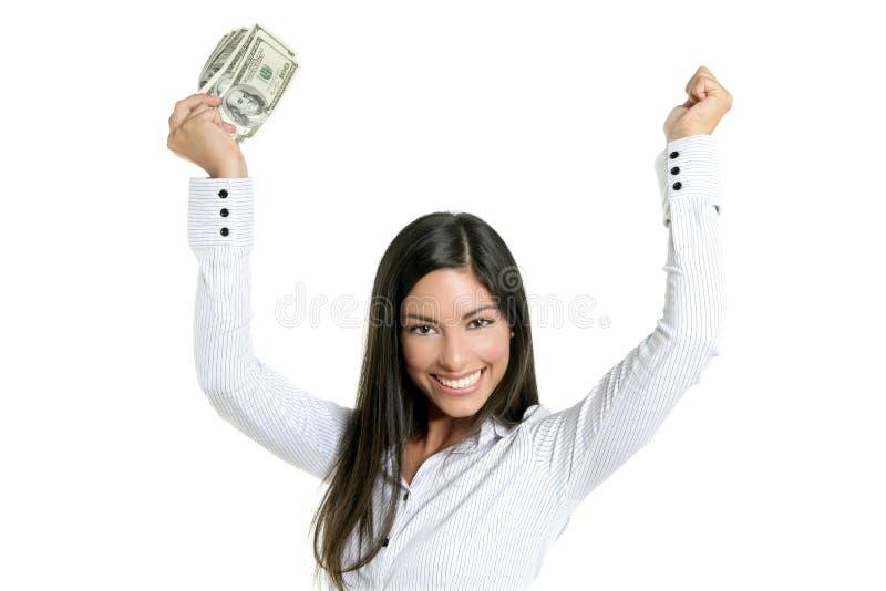 Belles notes du dollar de fixation de femme d'affaires photo stock