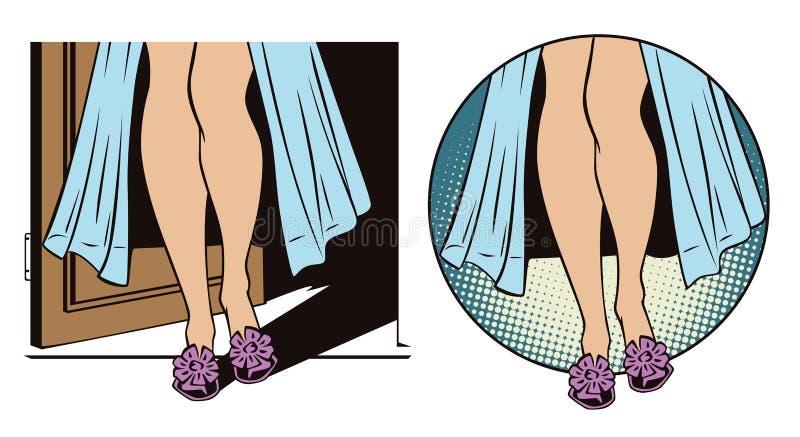 Belles pattes de femme dans la station thermale Les gens dans le rétro style illustration stock
