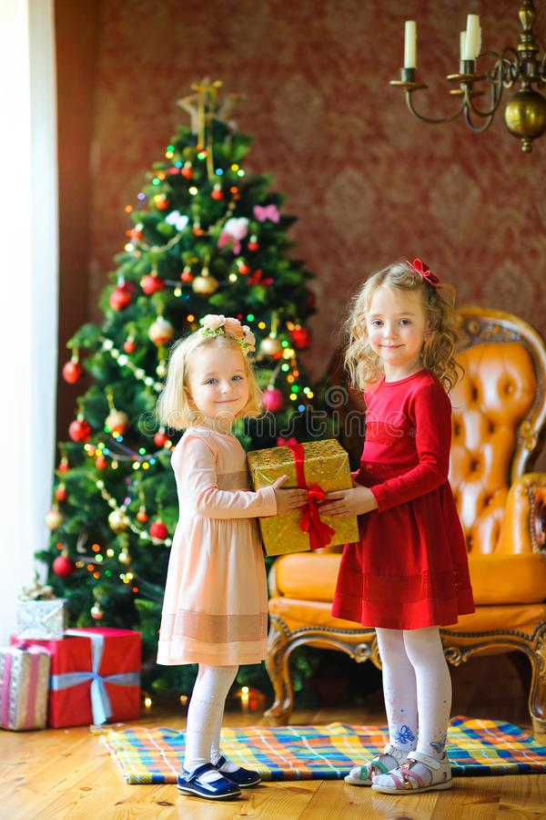 Belles petites filles dans des robes tenant une grande boîte avec un cadeau et un sourire photographie stock libre de droits