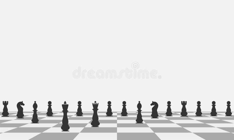 Belles pièces d'échecs de noir de fond sur un échiquier Vecteur illustration de vecteur