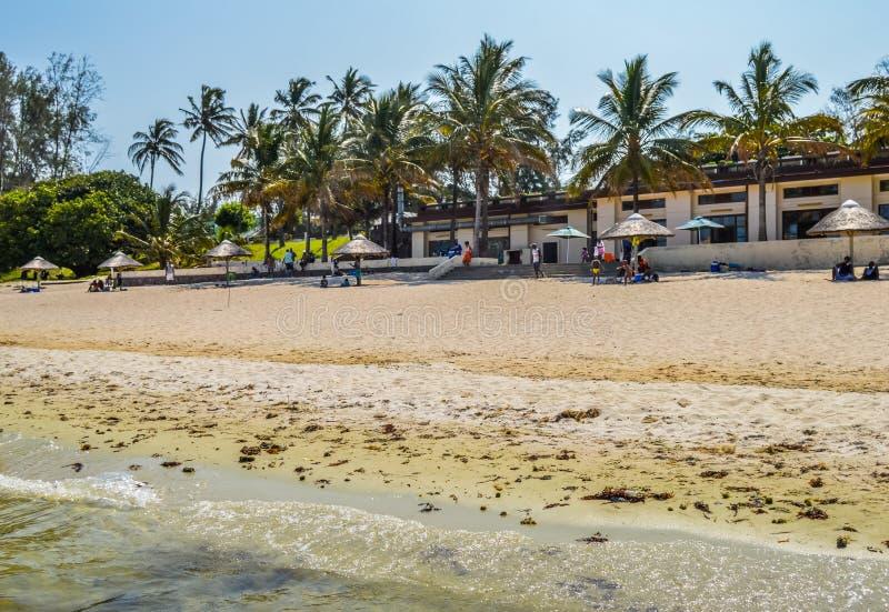 Belles plage et lagune de Bilene pr?s de Maputo en Mozambique image stock