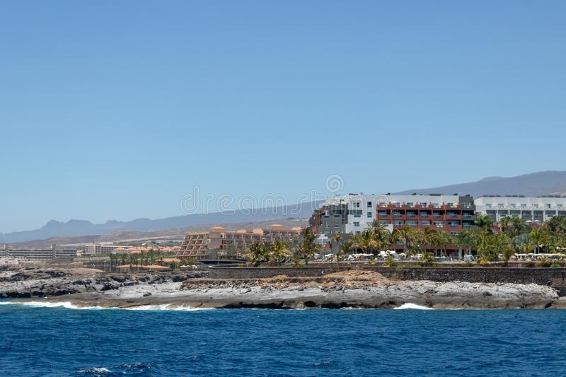 Belles plages bleues d'île de Ténérife images libres de droits