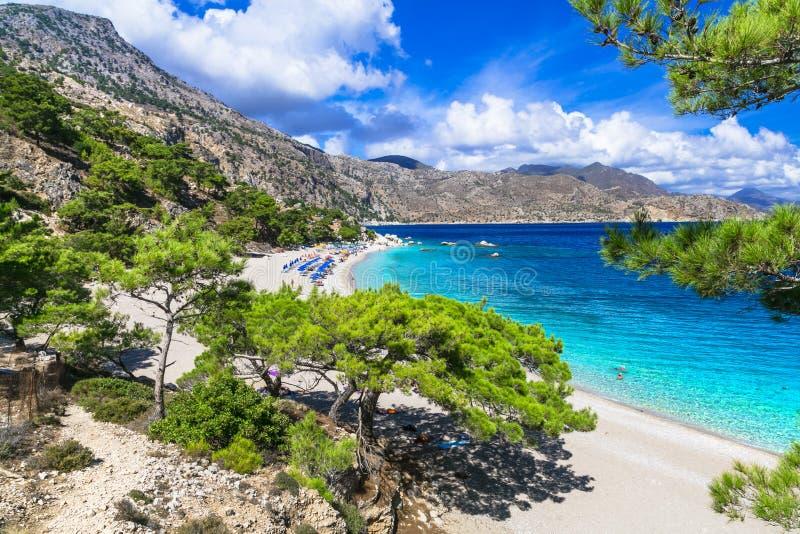 Belles plages de la Grèce - l'Apella, Karpathos photos libres de droits