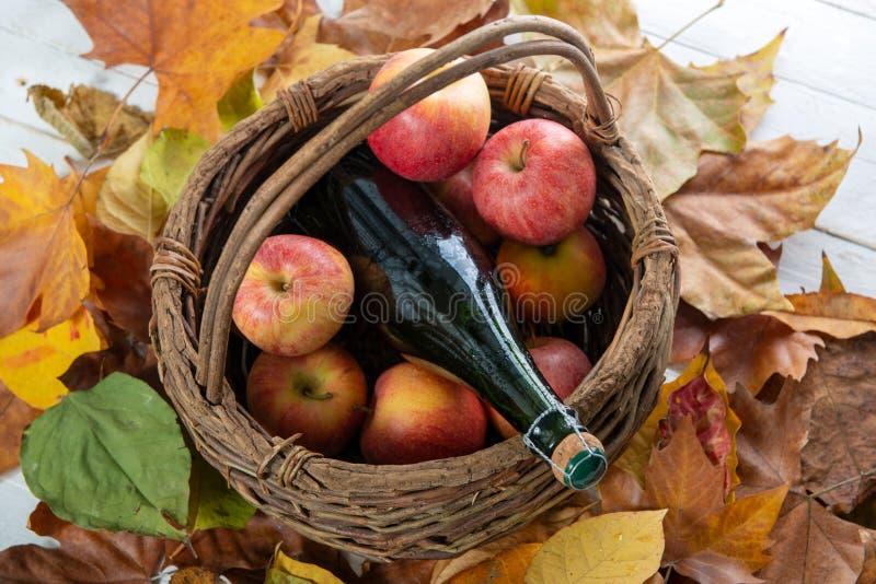 Belles pommes et bouteille de cidre, sur des feuilles d'automne photo libre de droits