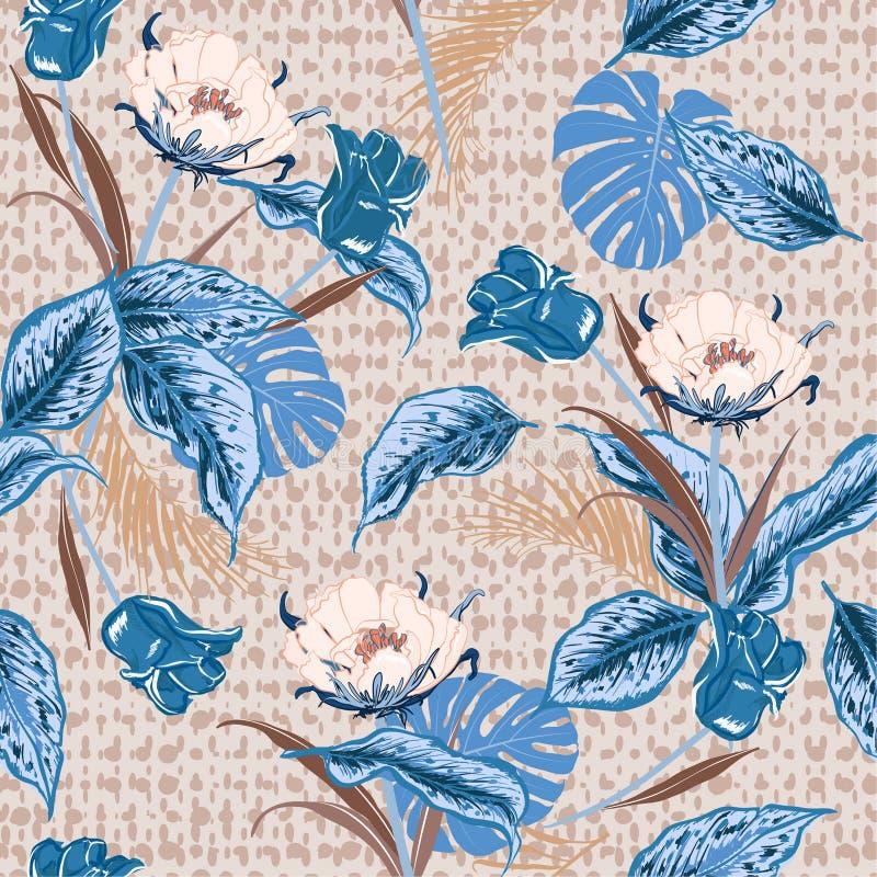 Belles rétros fleur sauvage et tulipes tropicales, jungle de feuilles illustration libre de droits
