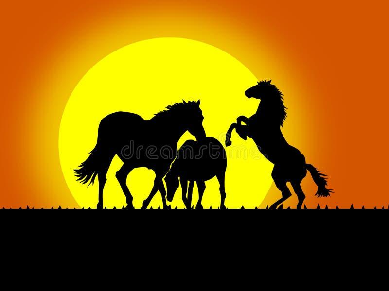 Belles silhouettes noires de cheval illustration de vecteur