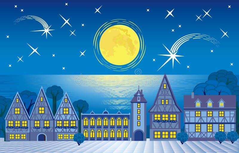 Belles ville et lune de nuit de paysage illustration libre de droits