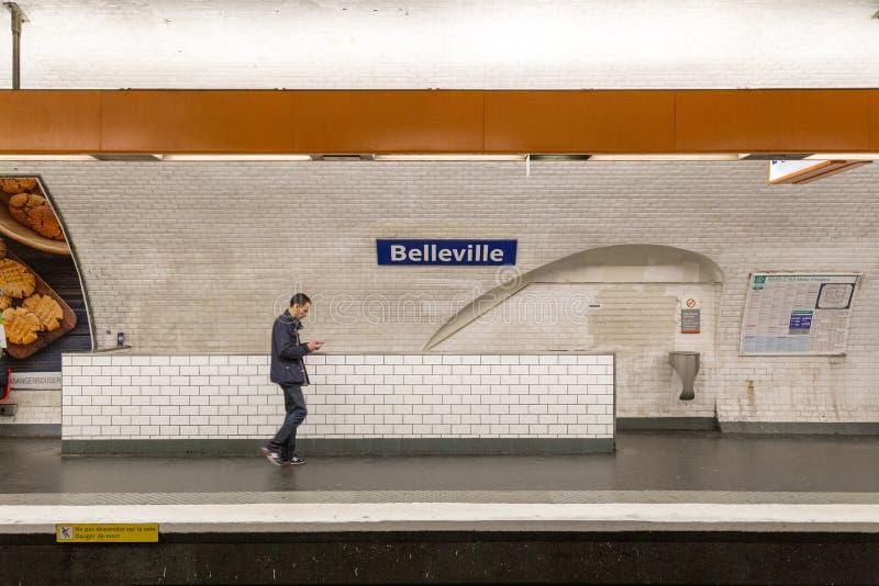 Belleville stacja metra w Paryż, Francja obraz royalty free