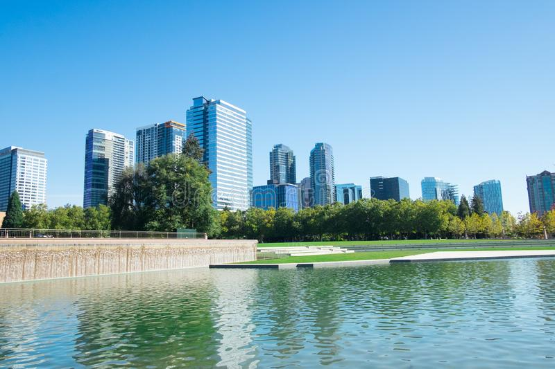 Bellevue Downtown Park. In Bellevue, Washington with waterfall fountain and duck pond stock image