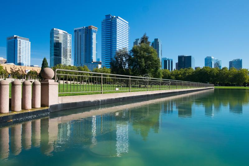 Bellevue Downtown Park. In Bellevue, Washington with waterfall fountain and duck pond royalty free stock images