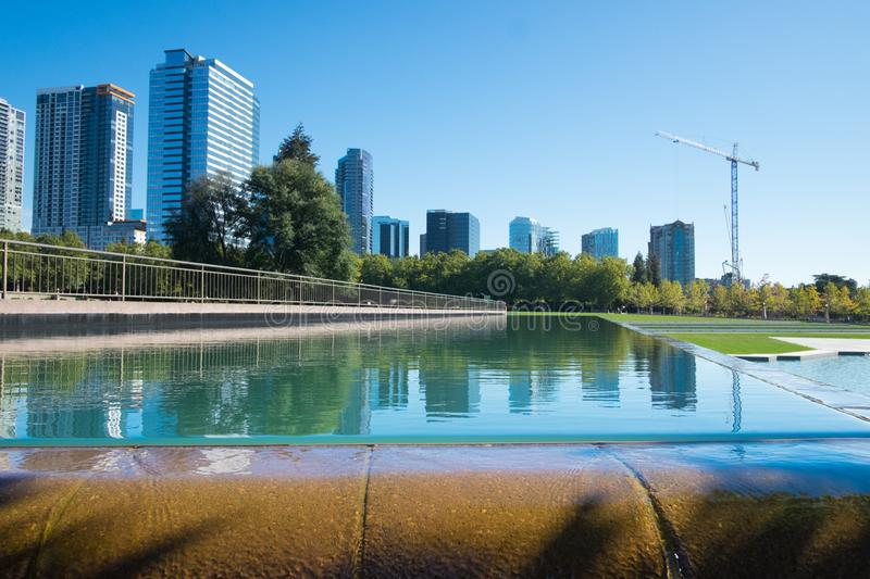 Bellevue Downtown Park. In Bellevue, Washington with waterfall fountain and duck pond stock photography