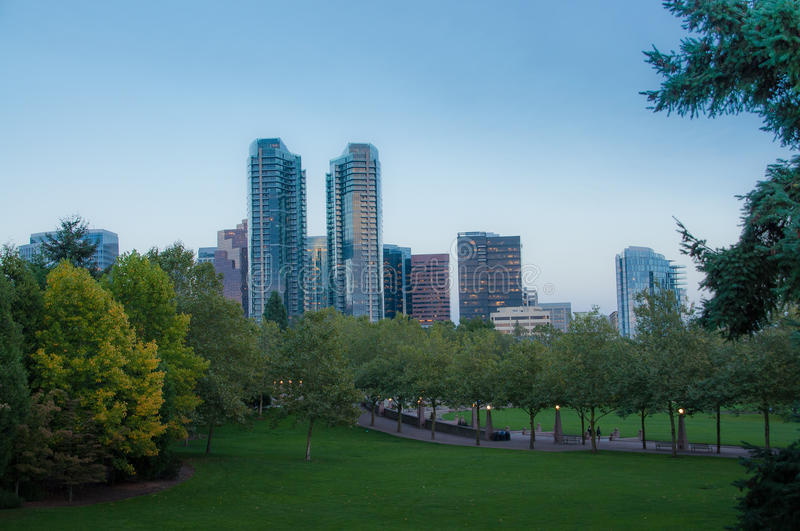 Bellevue downtown park in the evening. Autumn royalty free stock photo