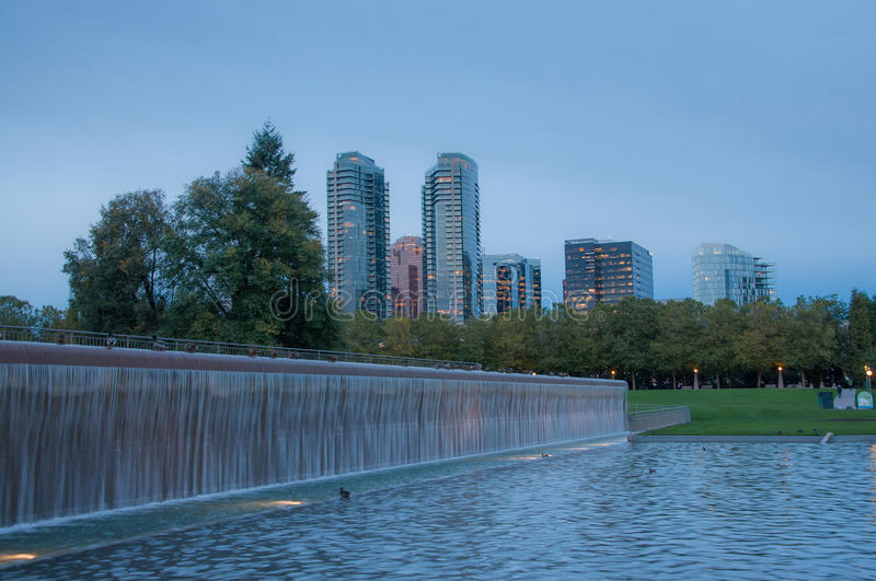 Bellevue downtown park in the evening. Autumn stock photos