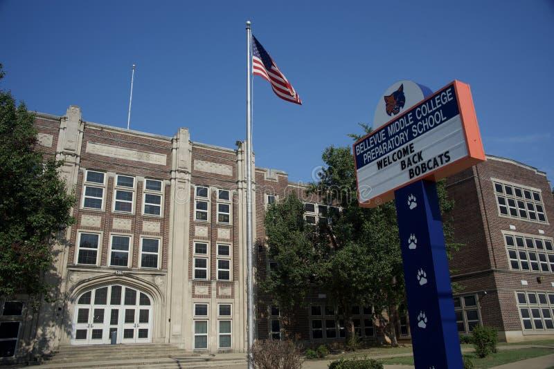 Bellevue mellersta högskolaPrepatory skola, Memphis, Tennessee arkivbilder