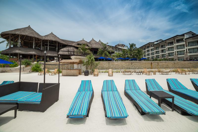 The Bellevue Resort hotel on a tropical beach on Panglao Island, Bohol, Philippines. August 2018. The Bellevue Resort hotel on a tropical beach on Panglao Island stock photos