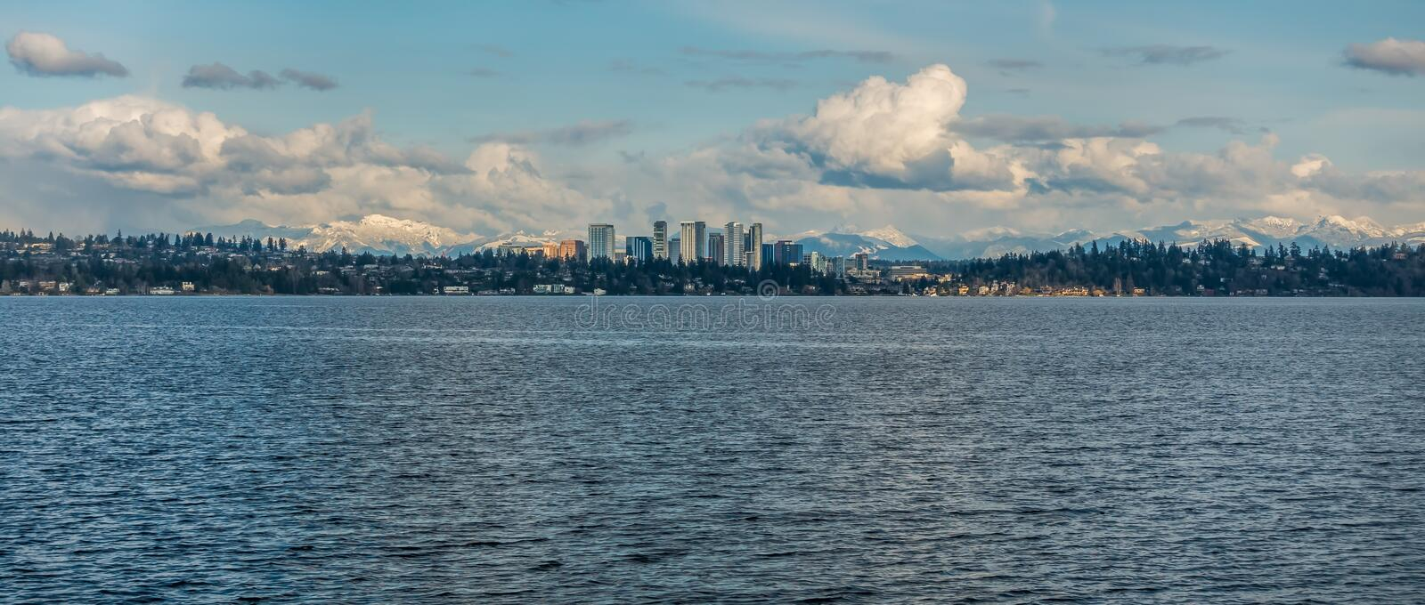 Bellevue Skyline and Cascades Panorama 4. Panorama shot of the skyline of Bellevue, Washington with the Cascade Mountains behind stock photography