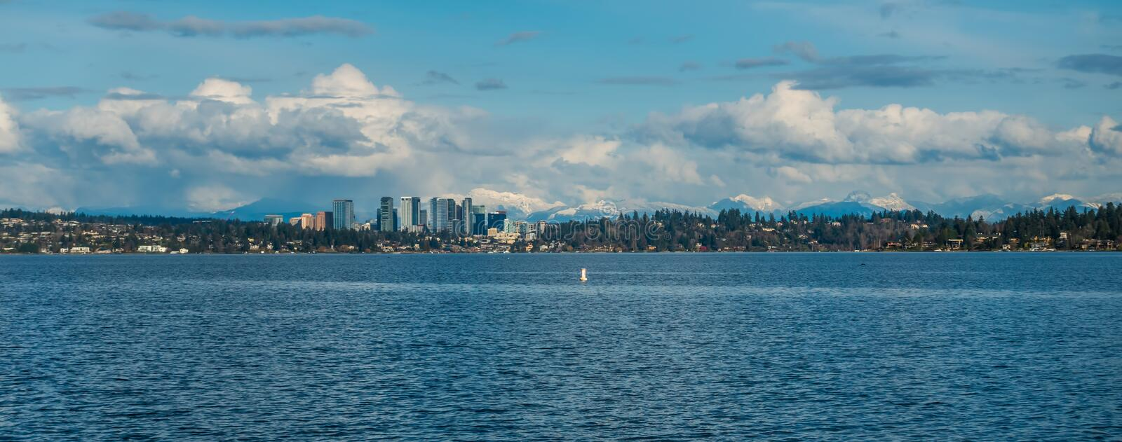 Bellevue Skyline and Cascades Panorama 3. Panorama shot of the skyline of Bellevue, Washington with the Cascade Mountains behind stock photography