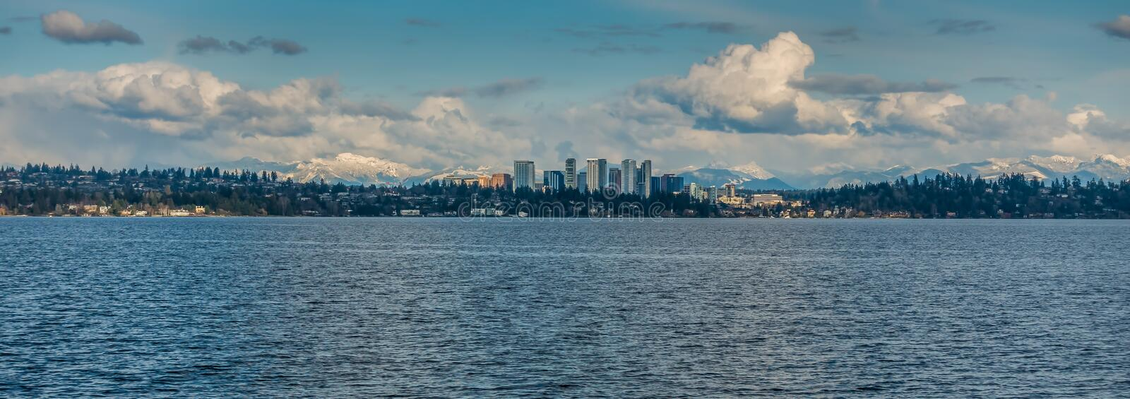 Bellevue Skyline and Cascades Panorama 5. Panorama shot of the skyline of Bellevue, Washington with the Cascade Mountains behind stock images