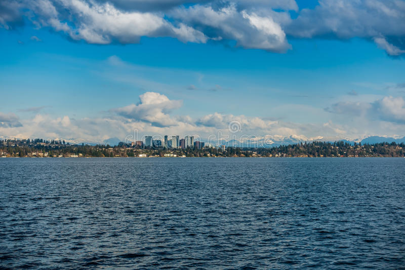 Bellevue Skyline and Cascades 4. A view of the skyline of Bellevue, Washington with the Cascade Mountains behind stock images
