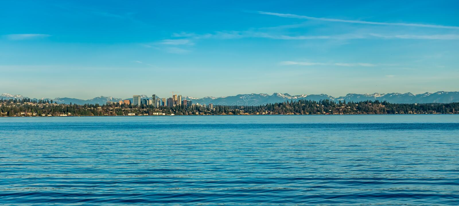 Bellevue Skyline On Lake 2. A view of the skyline in Bellevue, Washington. Lake Washington is in the foreground royalty free stock photo