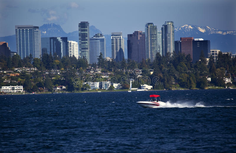 Bellevue Skyline Lake Washington Speedboat stock image