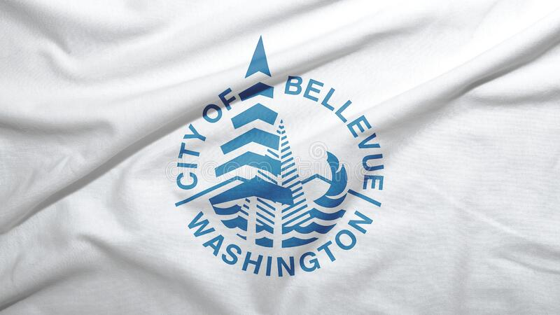 Bellevue of Washington of United States flag background. Bellevue of Washington of United States flag on the fabric texture background royalty free stock images
